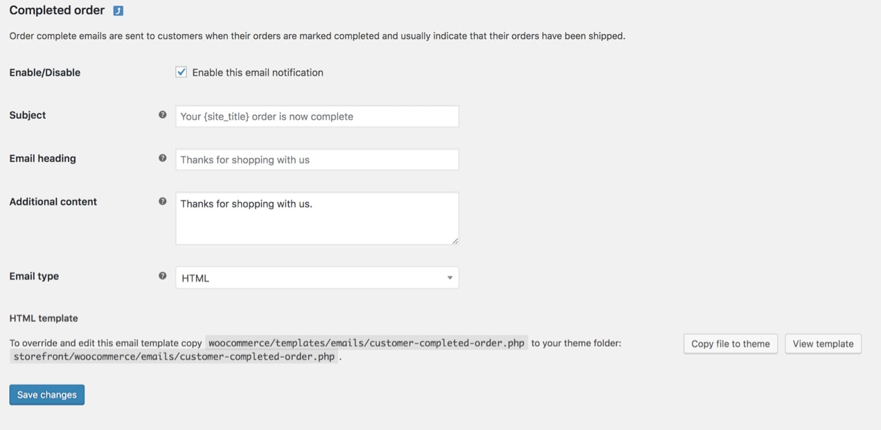 example of Completed Order email template