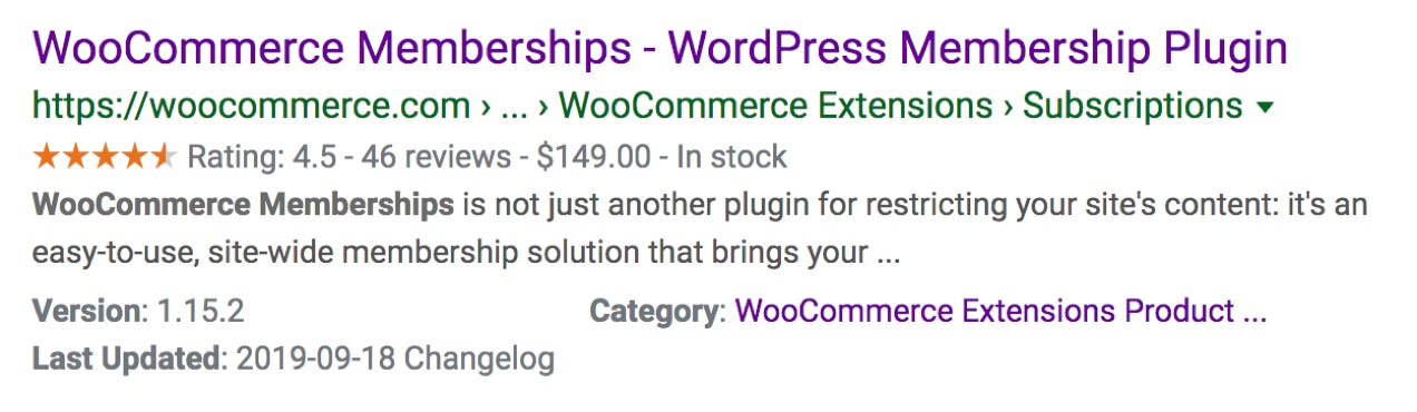 search example for WooCommerce Memberships showing Schema markup