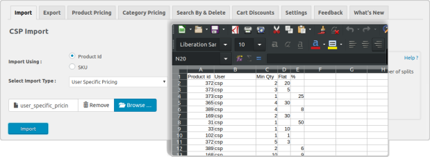 pricing rules import page