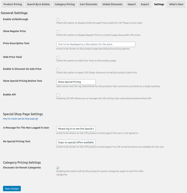 customer-specific pricing general settings page