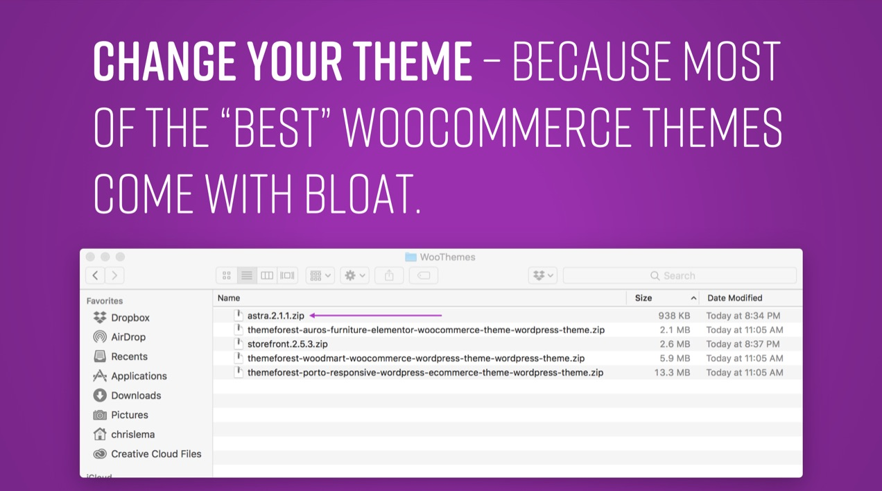 Slide comparing the file sizes of several popular WooCommerce themes.