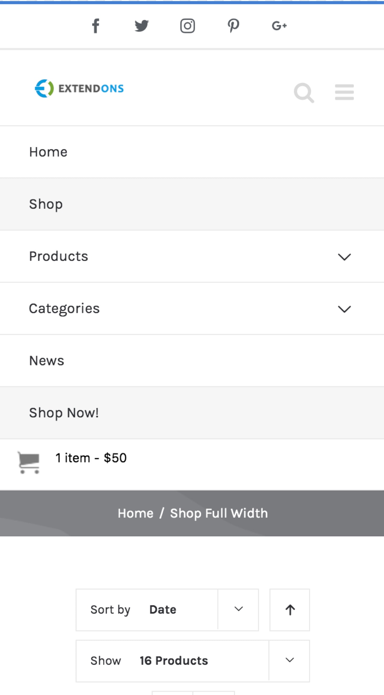 The Mini Cart extension in action, showing a mobile menu