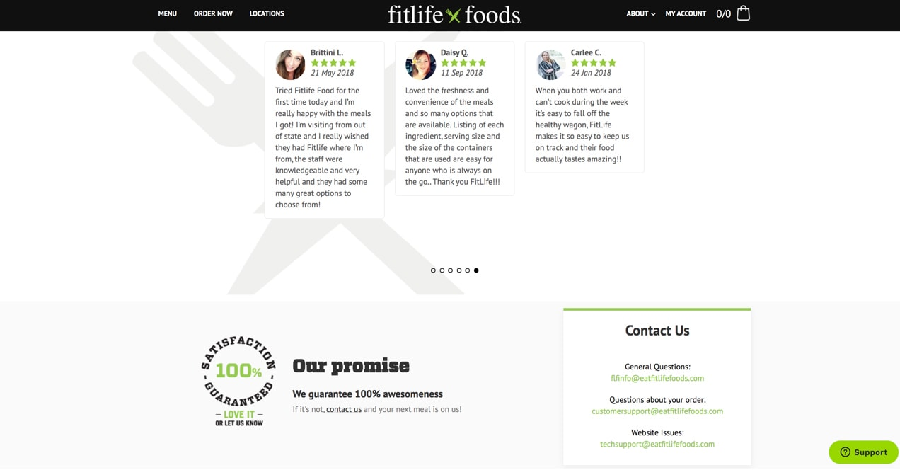 FitLife Foods site, with a 100% satisfaction guaranteed notice