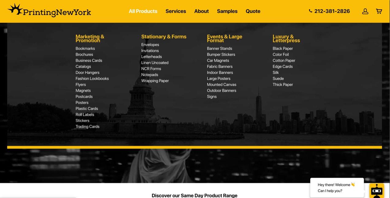 PrintingNewYork website, with categories and subcategories in the main menu