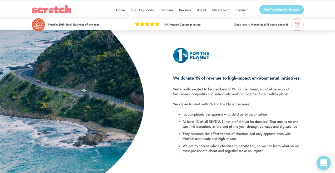Scratch Pet Food website showing their eco-friendly iniatives
