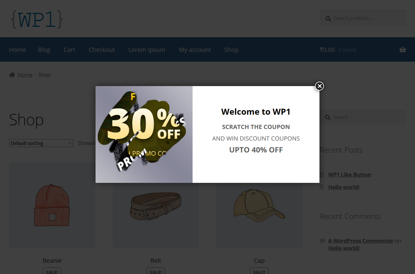Scratch Coupon for WooCommerce - Scratching Coupon