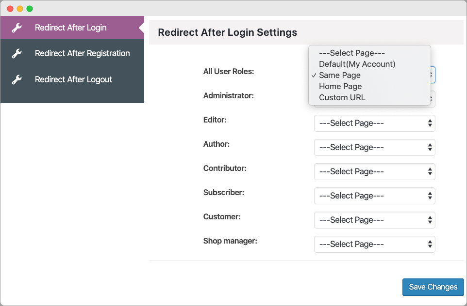 WooCommerce Redirect After Login Registration