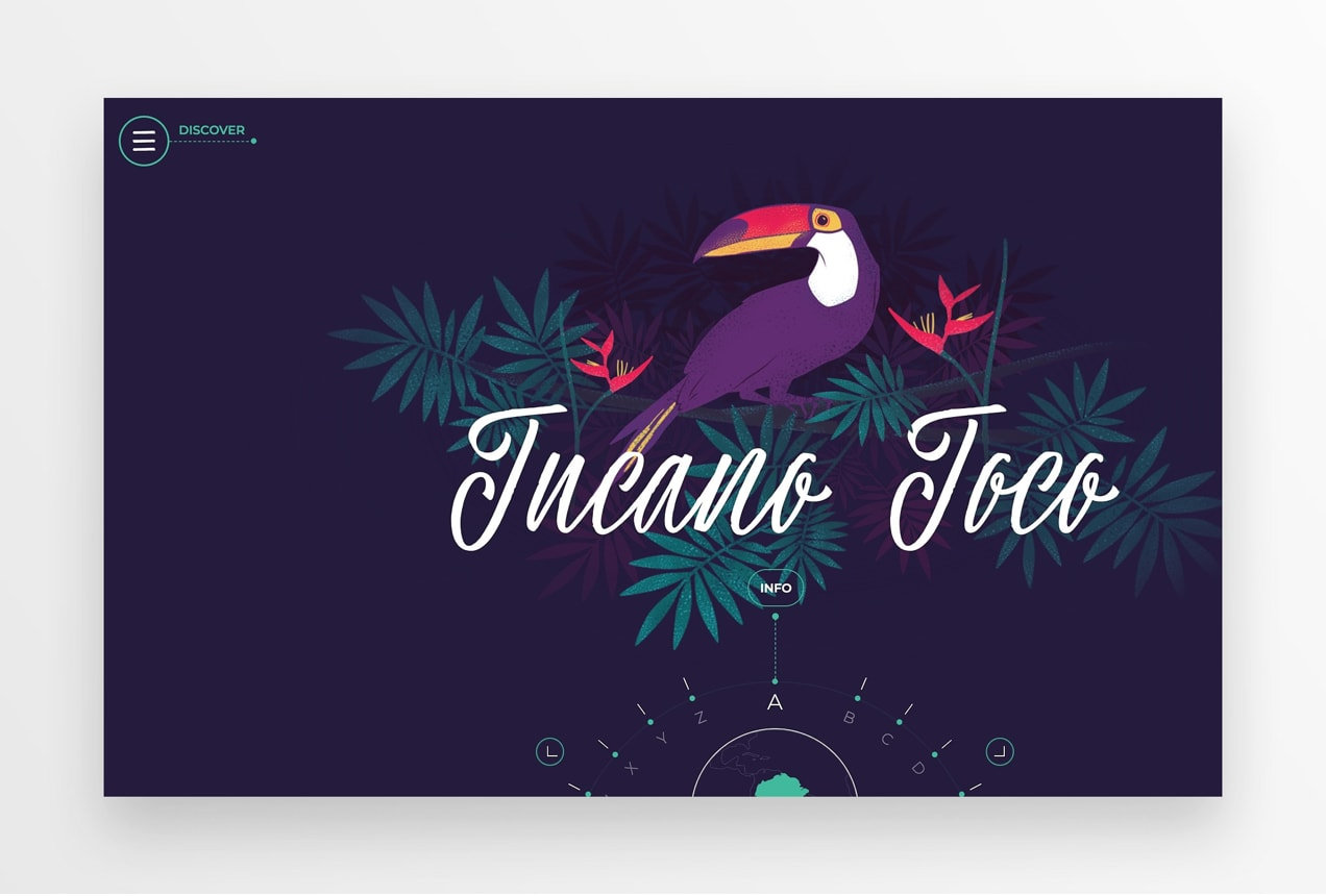 Amazonia Font website with a tropical design and interactive wheel