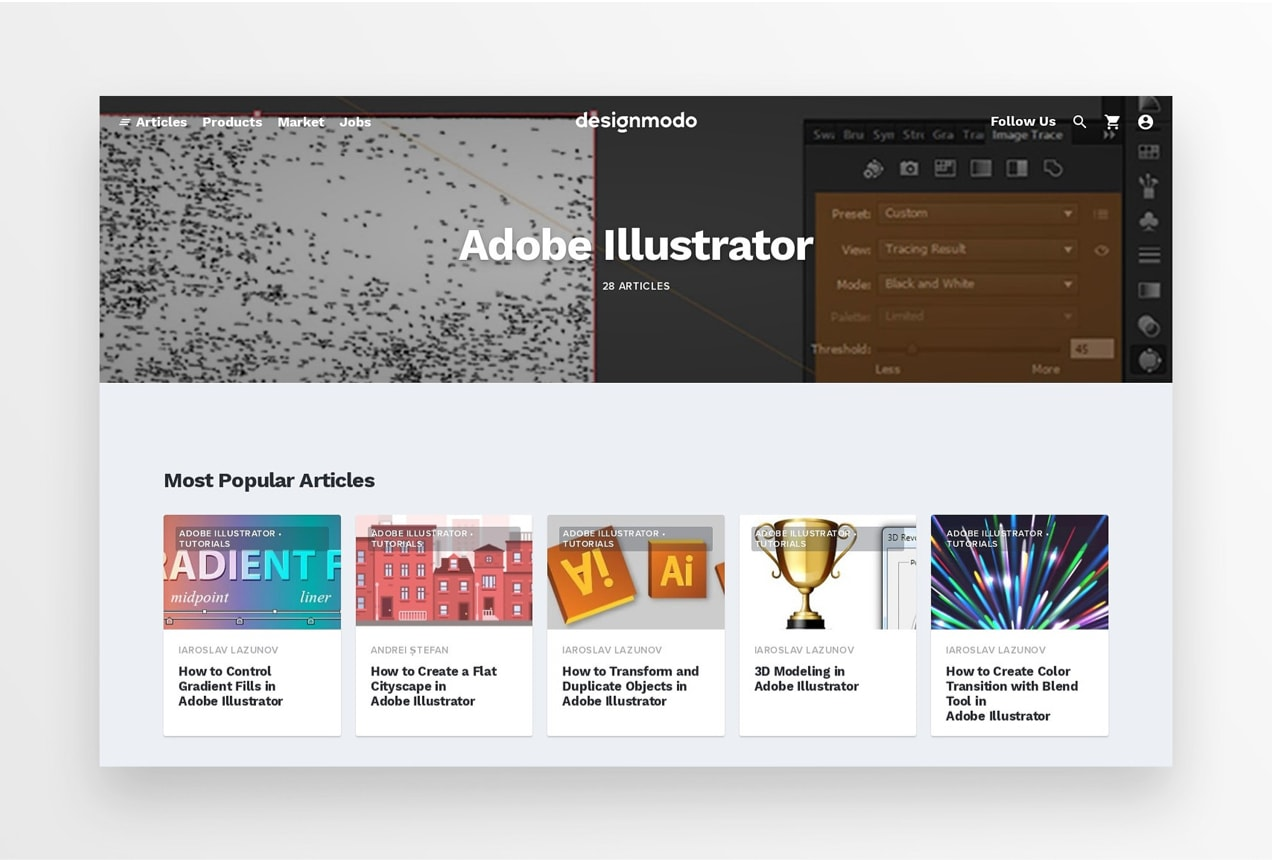 Designmodo blog with feed of Adobe Illustrator posts