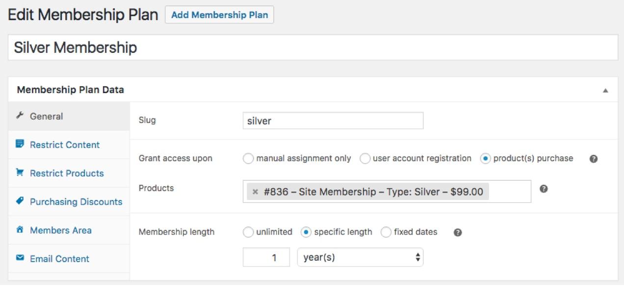 Membership Plan Data screen from WooCommerce