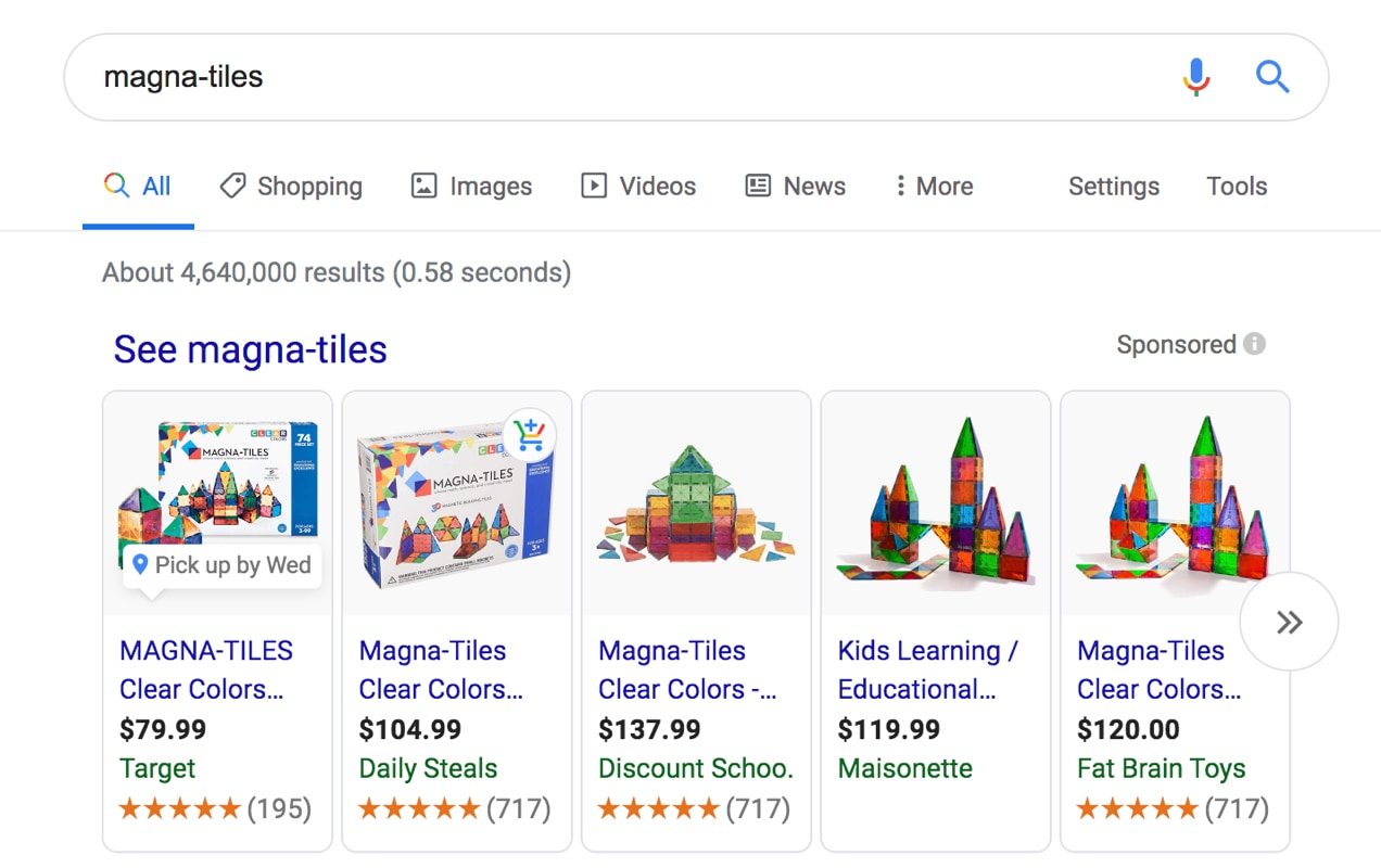 Magna-Tiles visual product listings on Google.