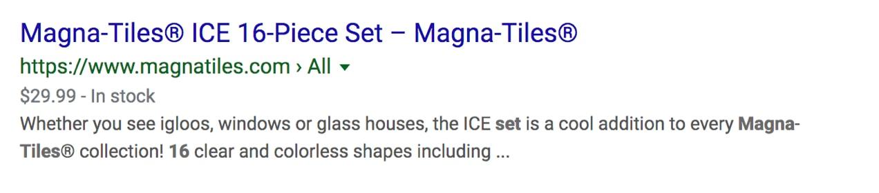 standard Google listing for Magna-Tiles, showing price information