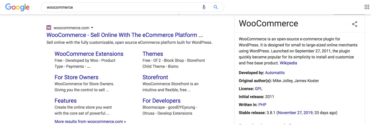 WooCommerce search results, showing sitelinks under their website