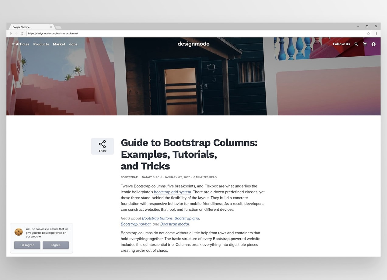 screenshot of blog post - Guide to Bootstrap Columns: Examples, Tutorials, and Tricks