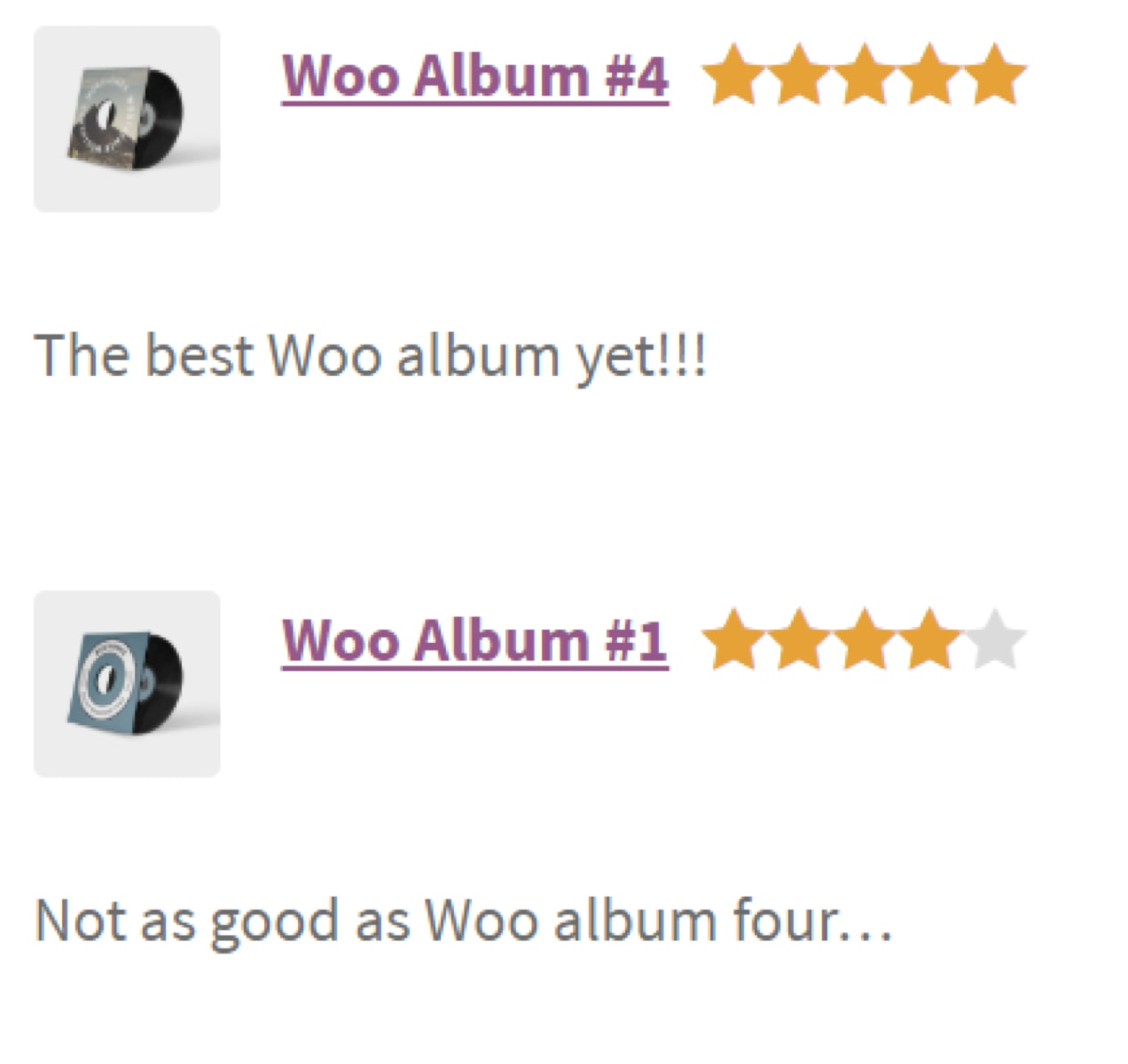 reviews listed in a column