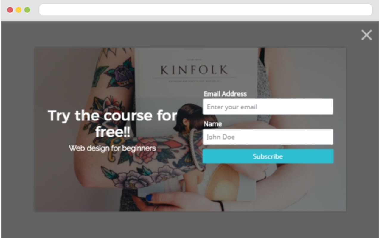 Pop-up that collects name and email address in exchange for a free course