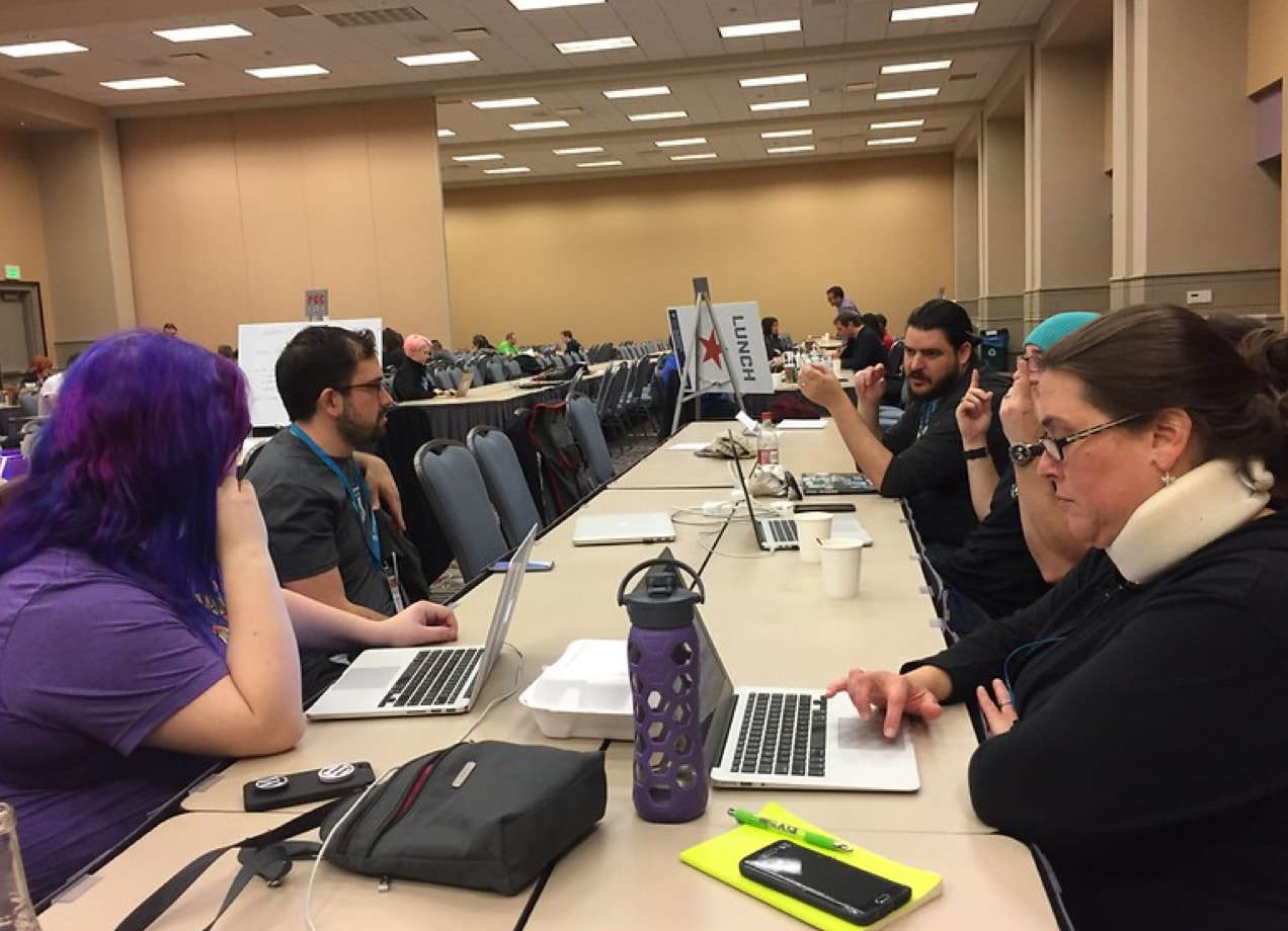 WordPress users collaborating at WordCamp U.S.