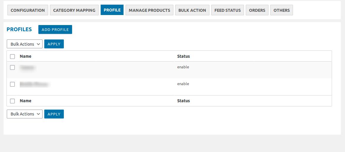 Profile based product upload