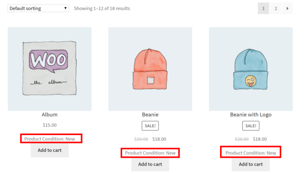 Display product condition on WooCommerce shop page