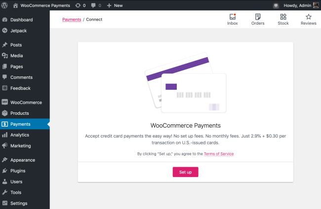 The WooCommerce Payments setup screen.