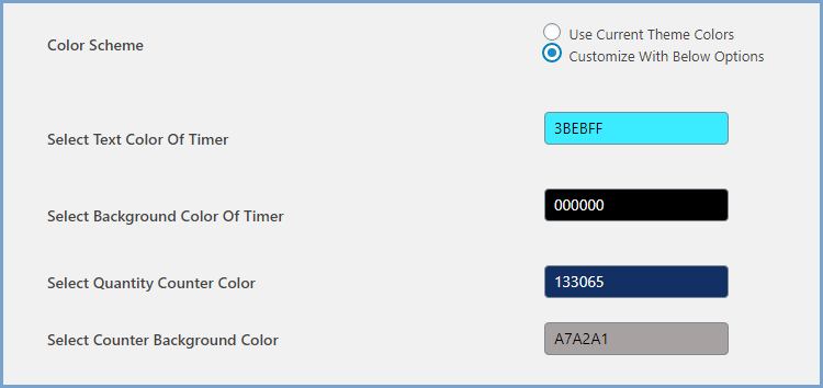 Customize Color Scheme of Timer & Quantity Counter