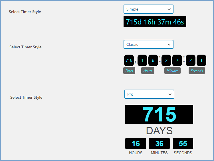 Variety of Countdown Timer Styles