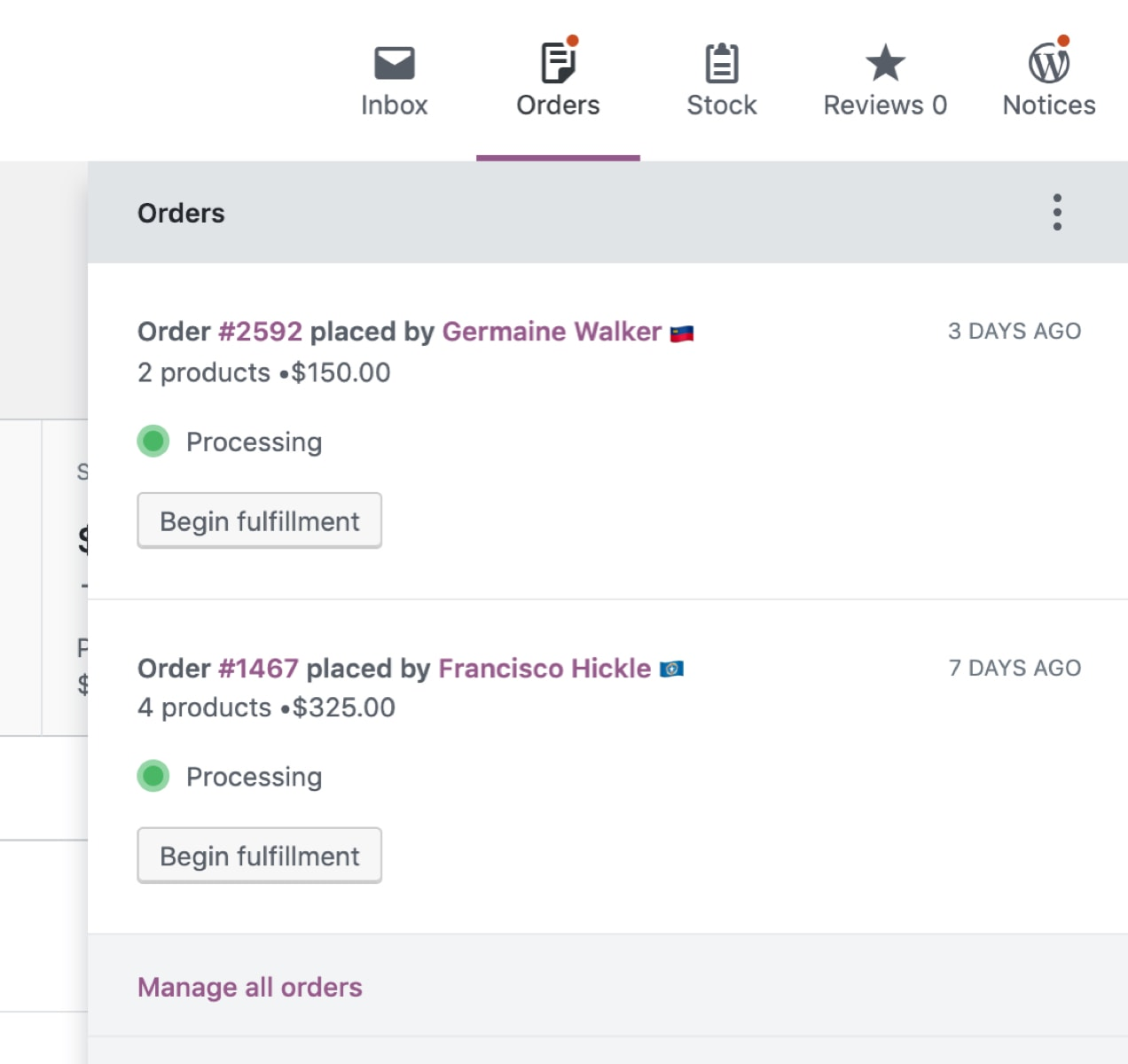 WooCommerce 4.0 activity panel showing new orders placed
