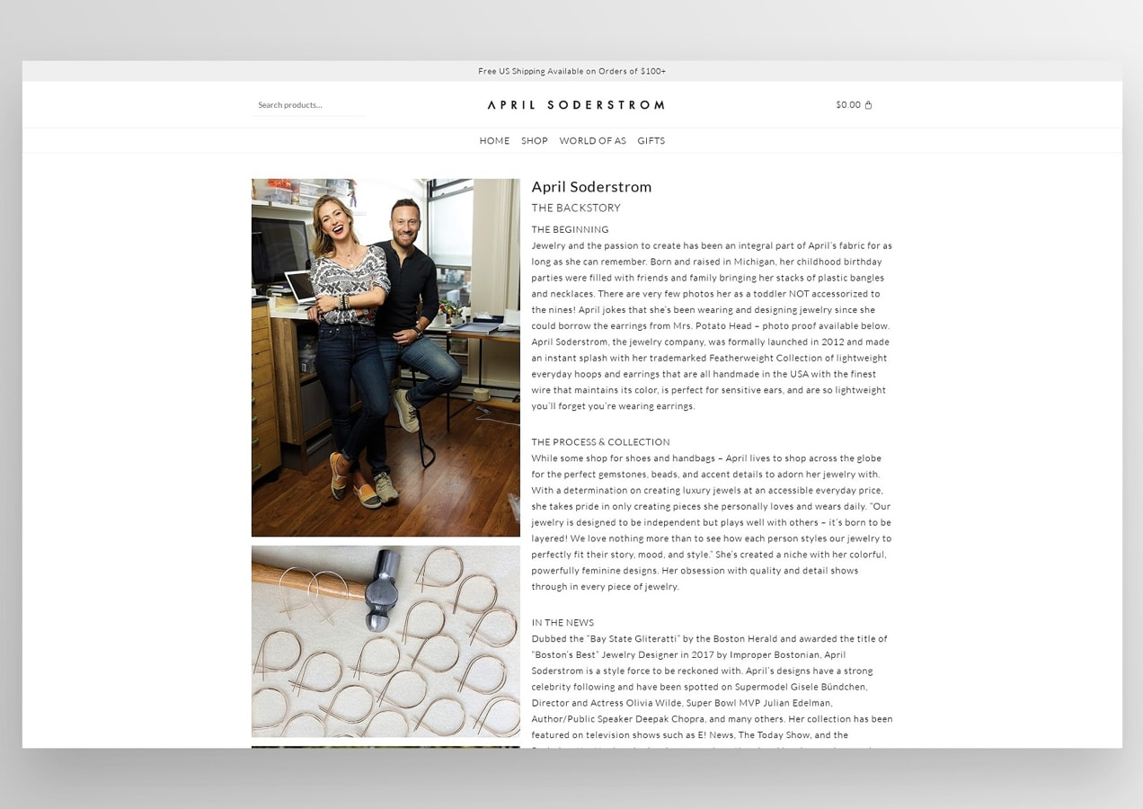 April Soderstrom About page with large photos and descriptive text
