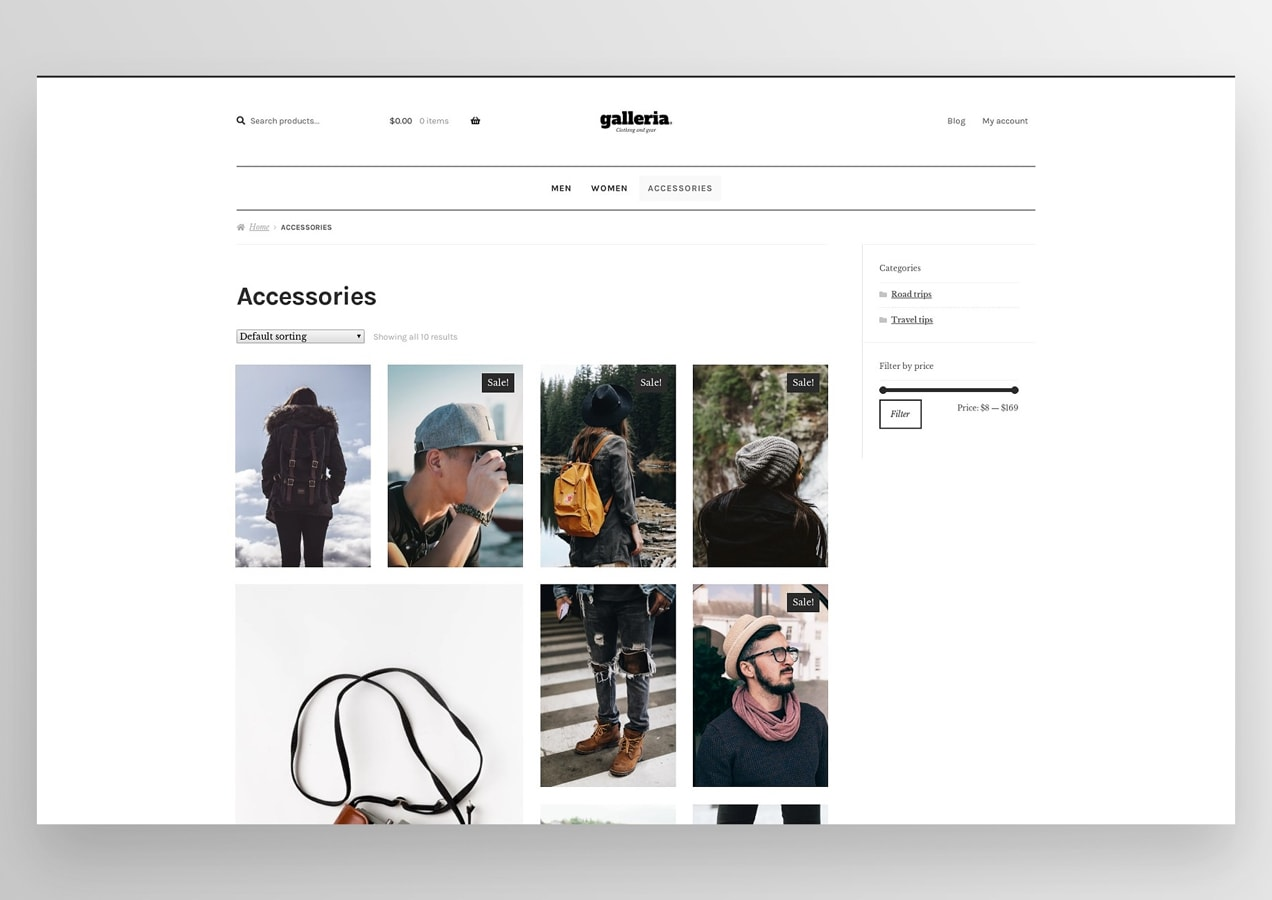 Galleria theme in use on an eCommerce site