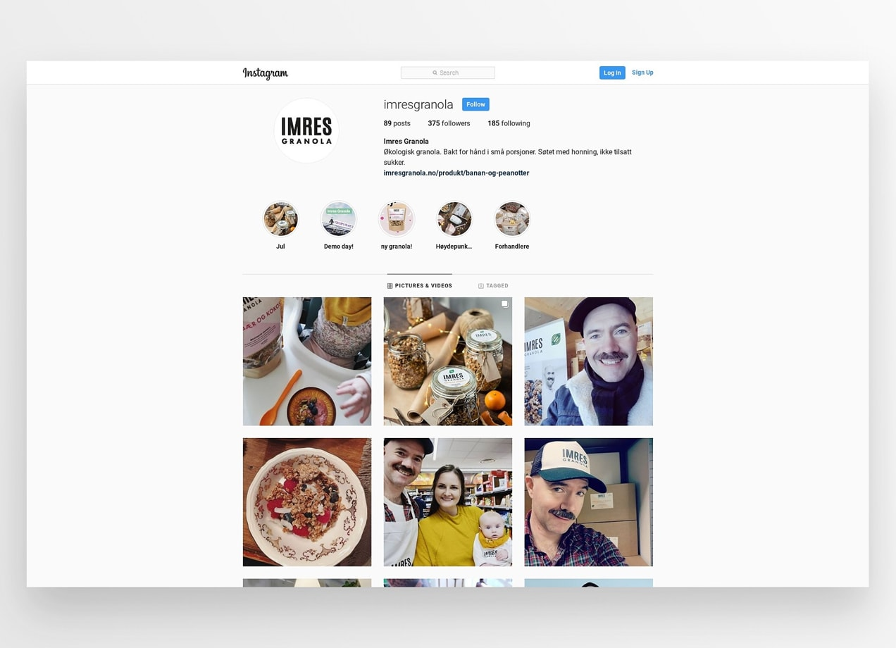 Imres Granola Instagram feed