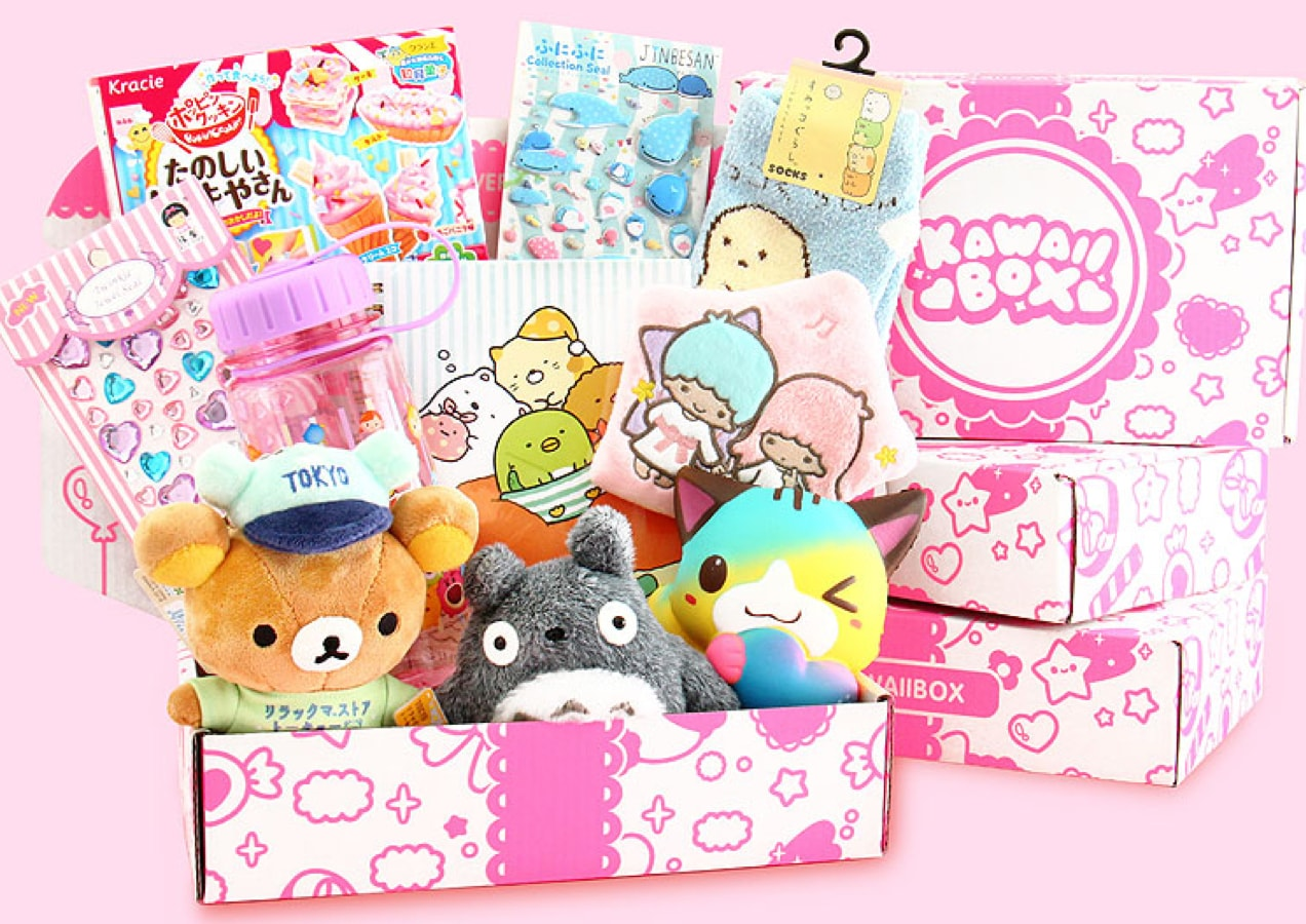 Kawaii subscription box with plushies and stickers