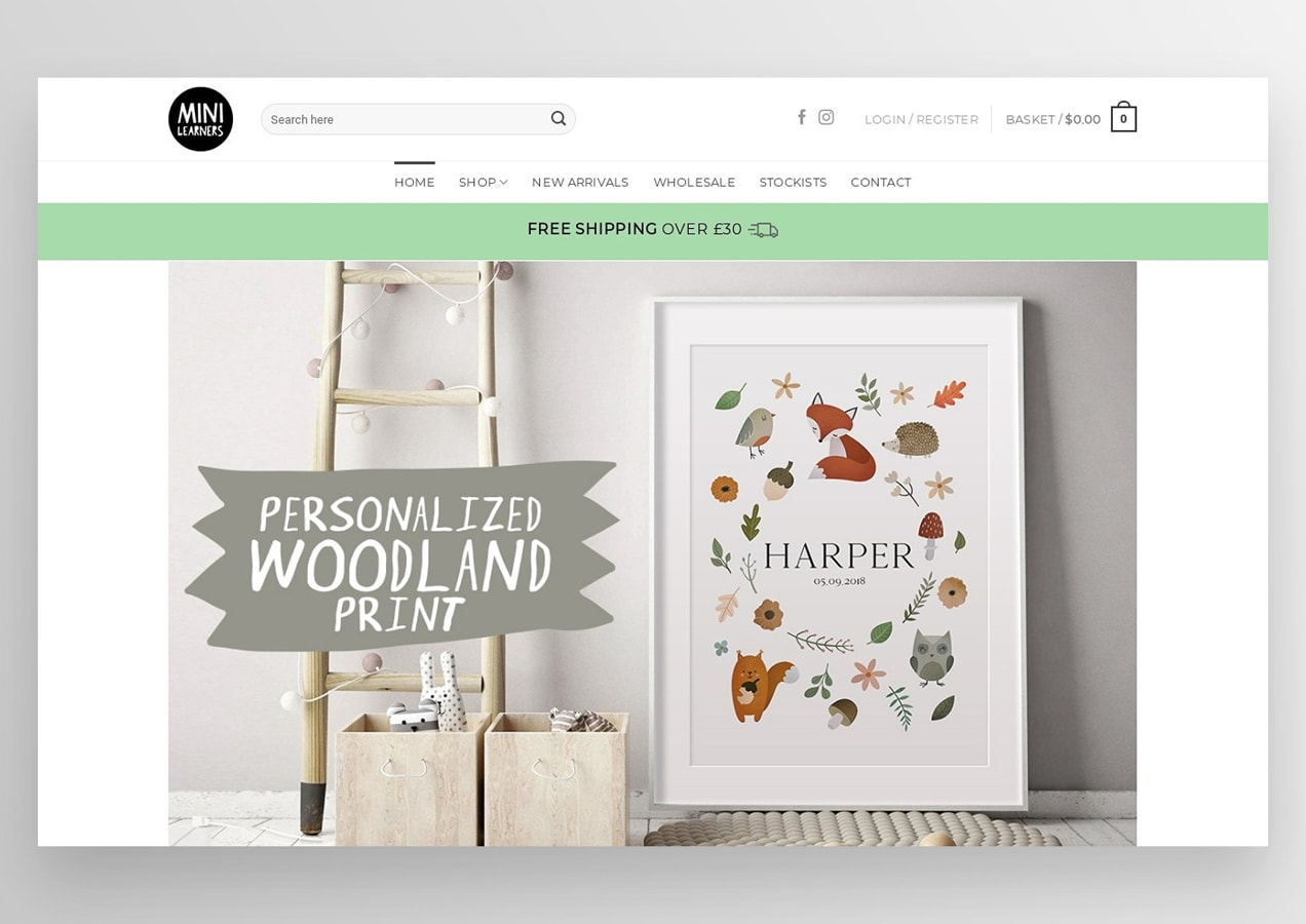 Mini Learner's home page with custom woodland prints