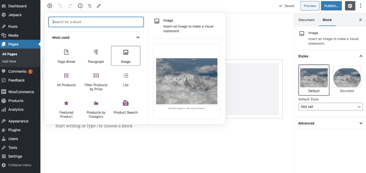adding an image in the bock editor