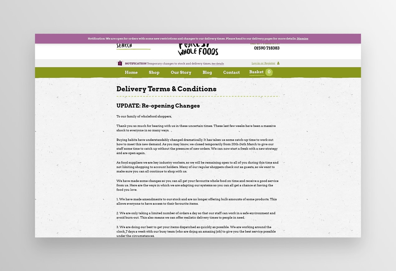 delivery page from the Forest Whole Foods website with updated terms and conditions