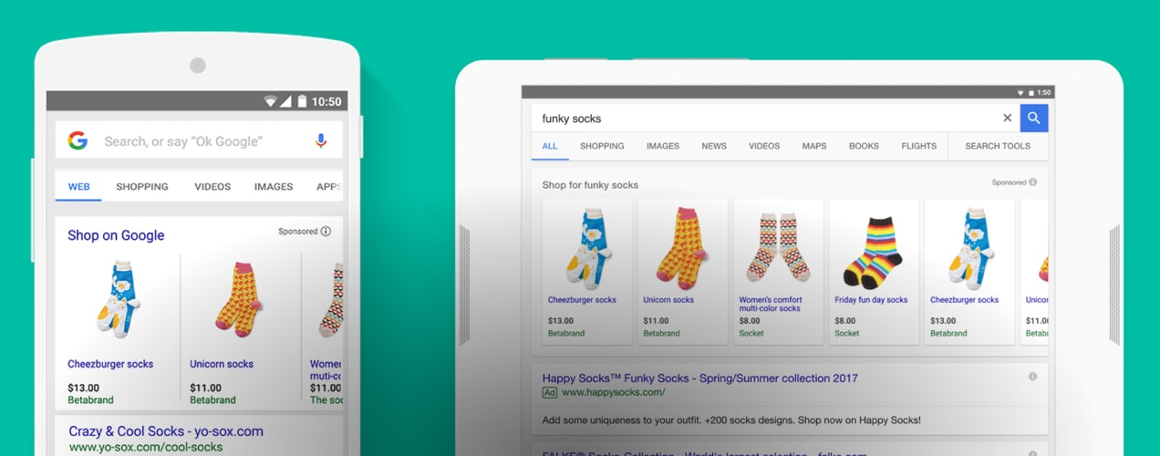 "Google Shopping results for the term ""funny socks."""