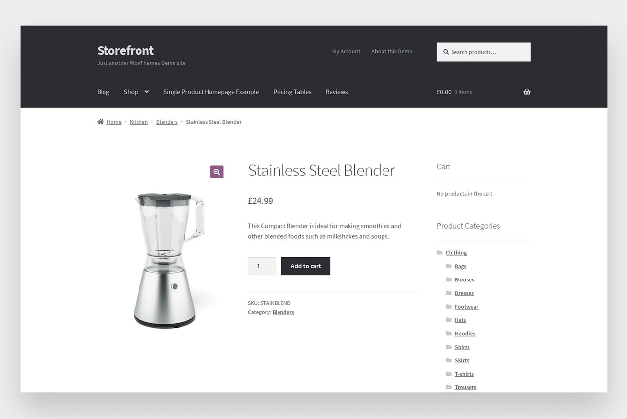 Storefront theme product page
