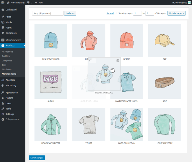 Drag and drop products to sort your catalog