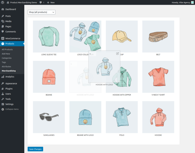 Drag-and-drop interface to merchandize products