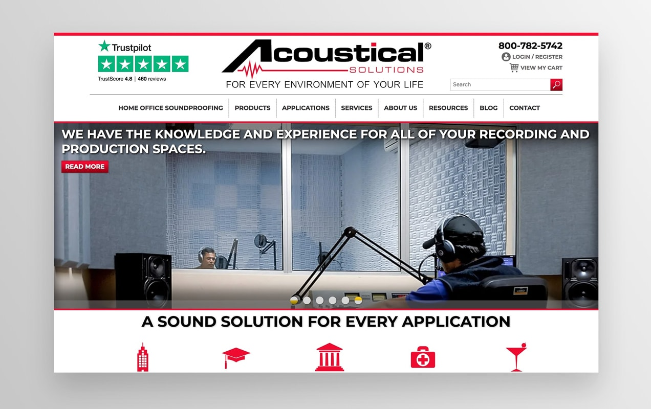 Acoustical Solutions home page showcasing their products