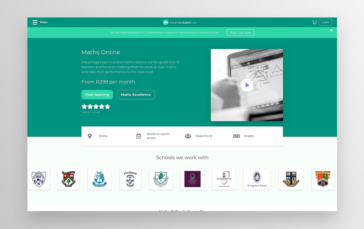 the Maths online course landing page from Advantage Learn