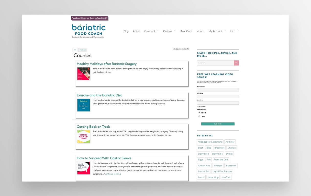 Bariatric Food Coach website with a list of online courses