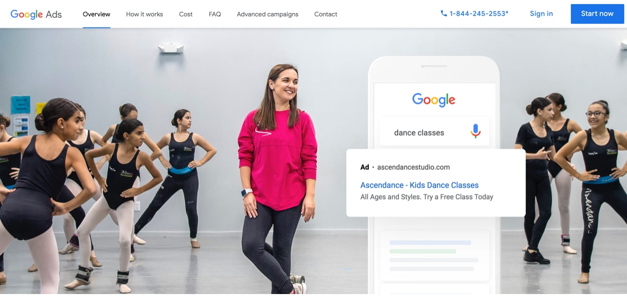 screenshot from the home page of Google ads, showing dancers and an example of an ad for dance classes
