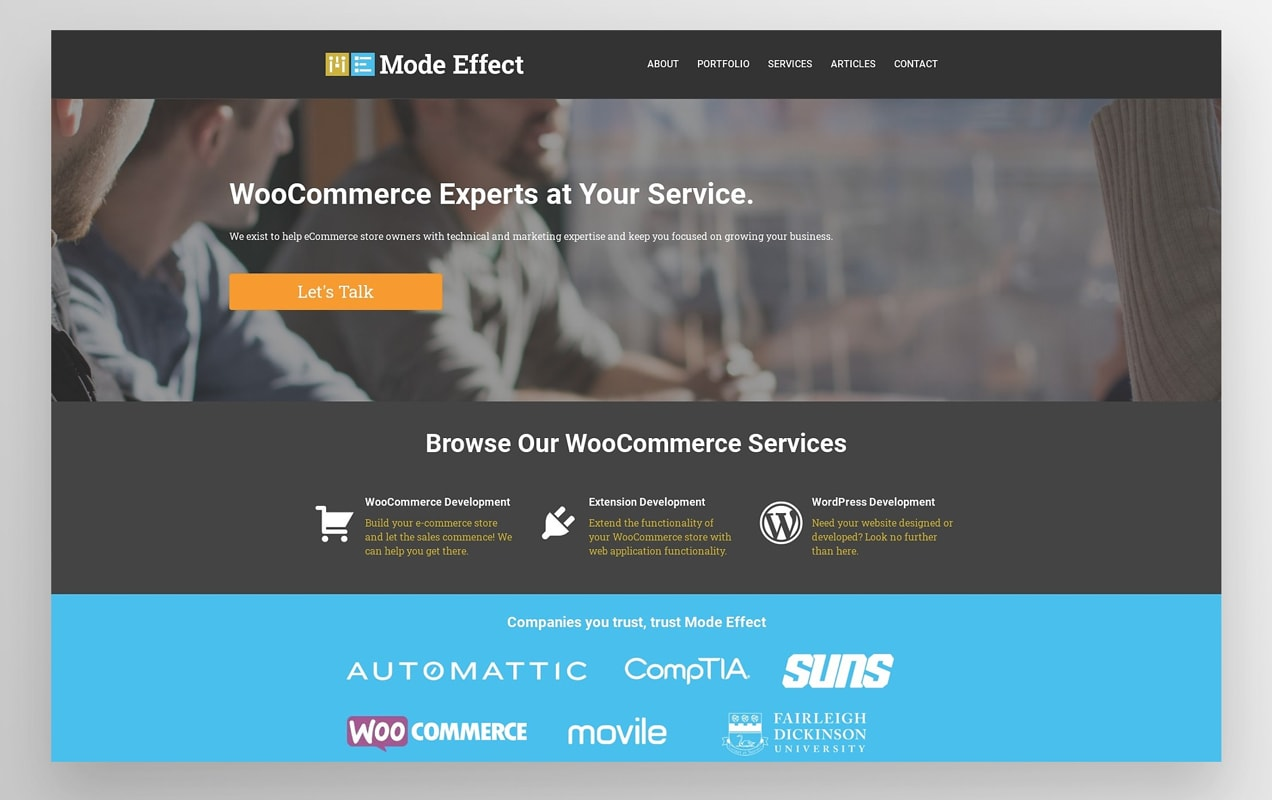 Mode Effect website with a dark grey and black color scheme