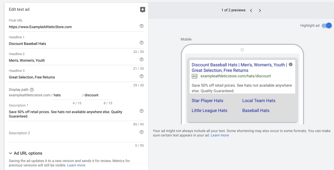example of creating a text ad, showing all the available fields