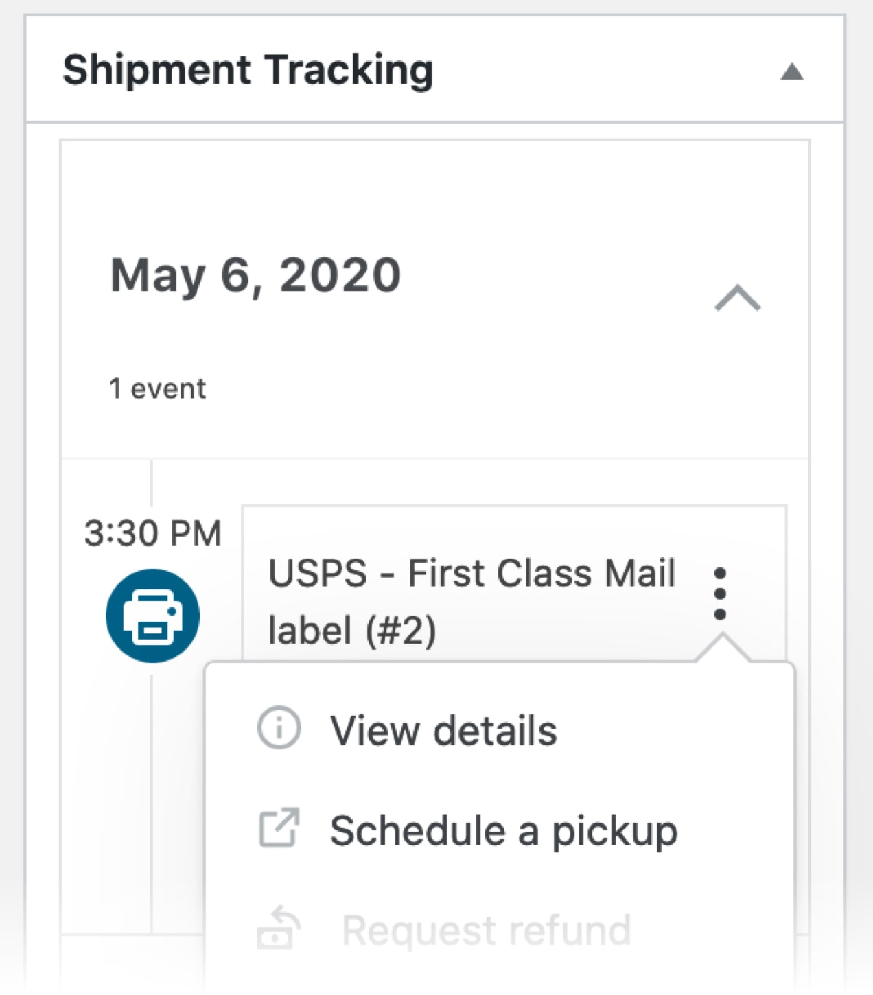 schedule a pickup dropdown on the order page