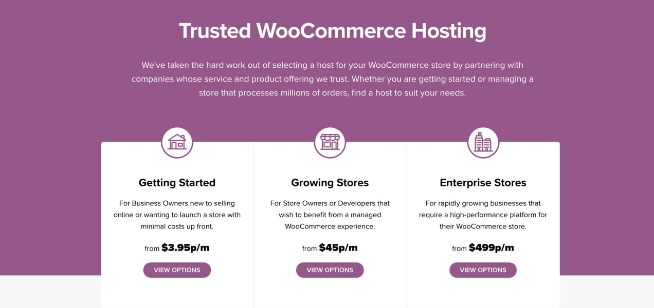 WooCommerce hosting page, with recommendations for stores of every level