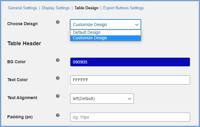 WooCommerce Variation Table