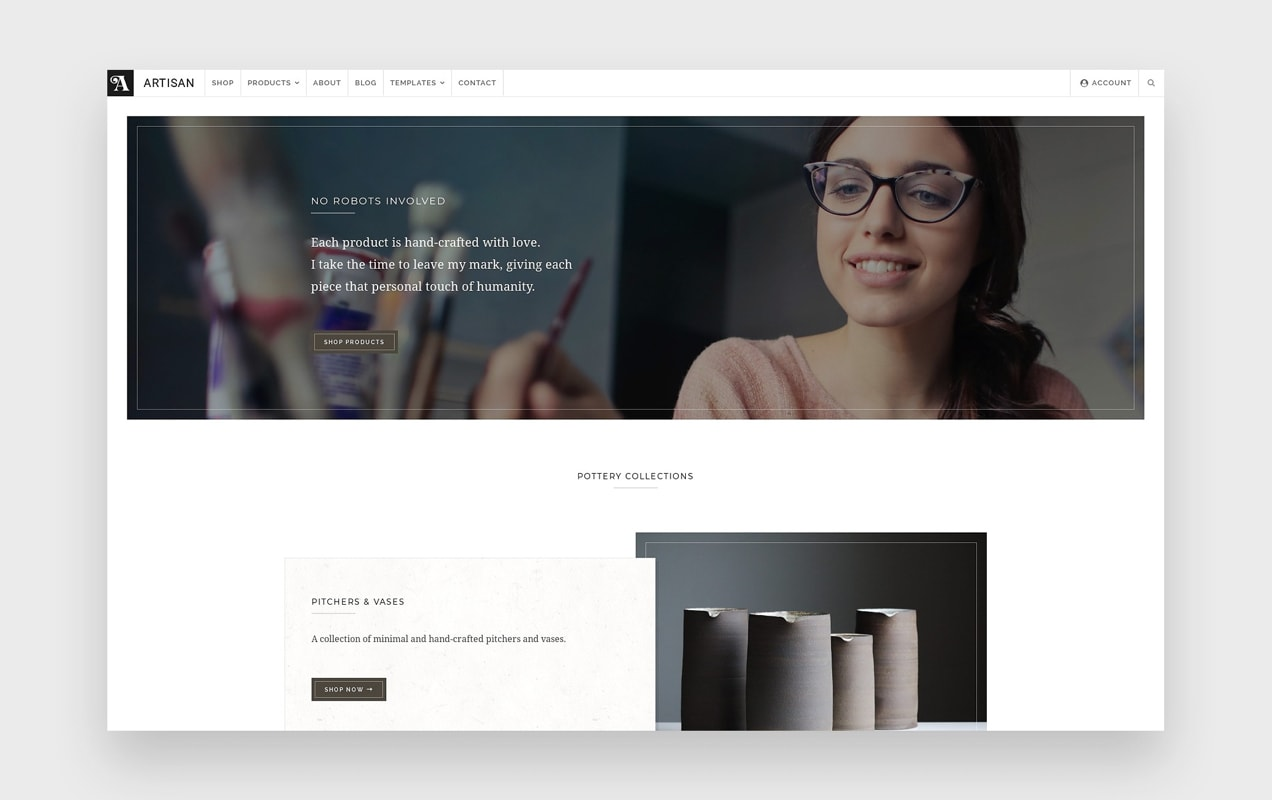 the Artisan theme with a wide layout and minimalist style
