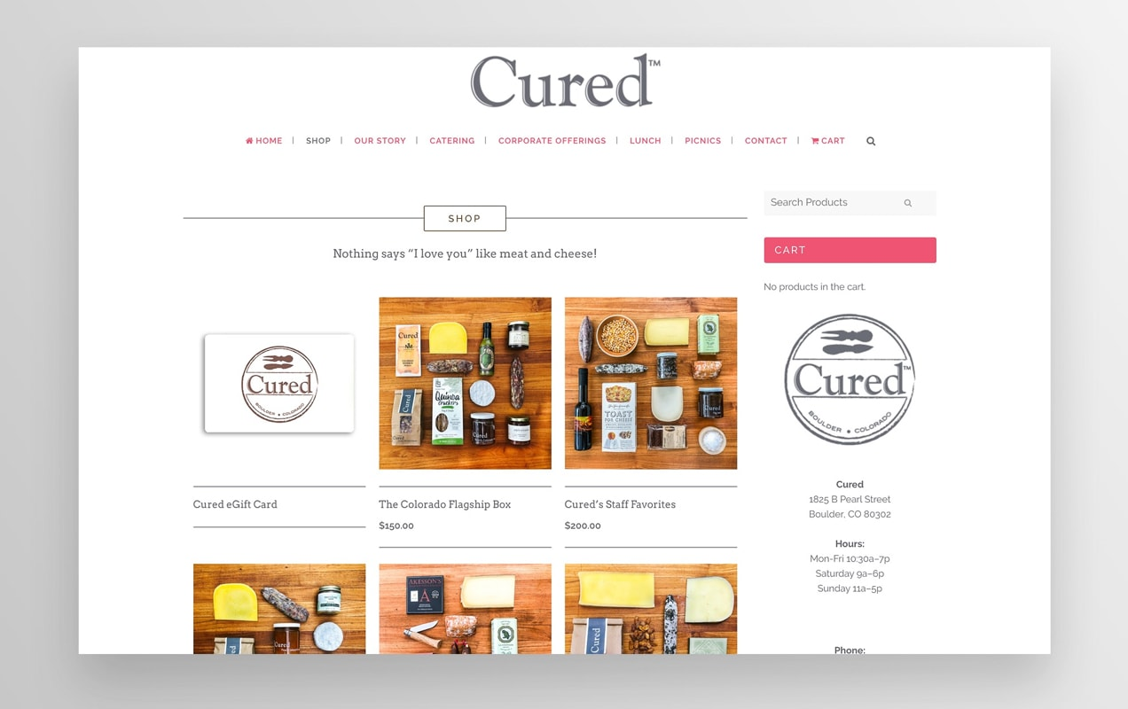 Cured Shop page listing products that they ship