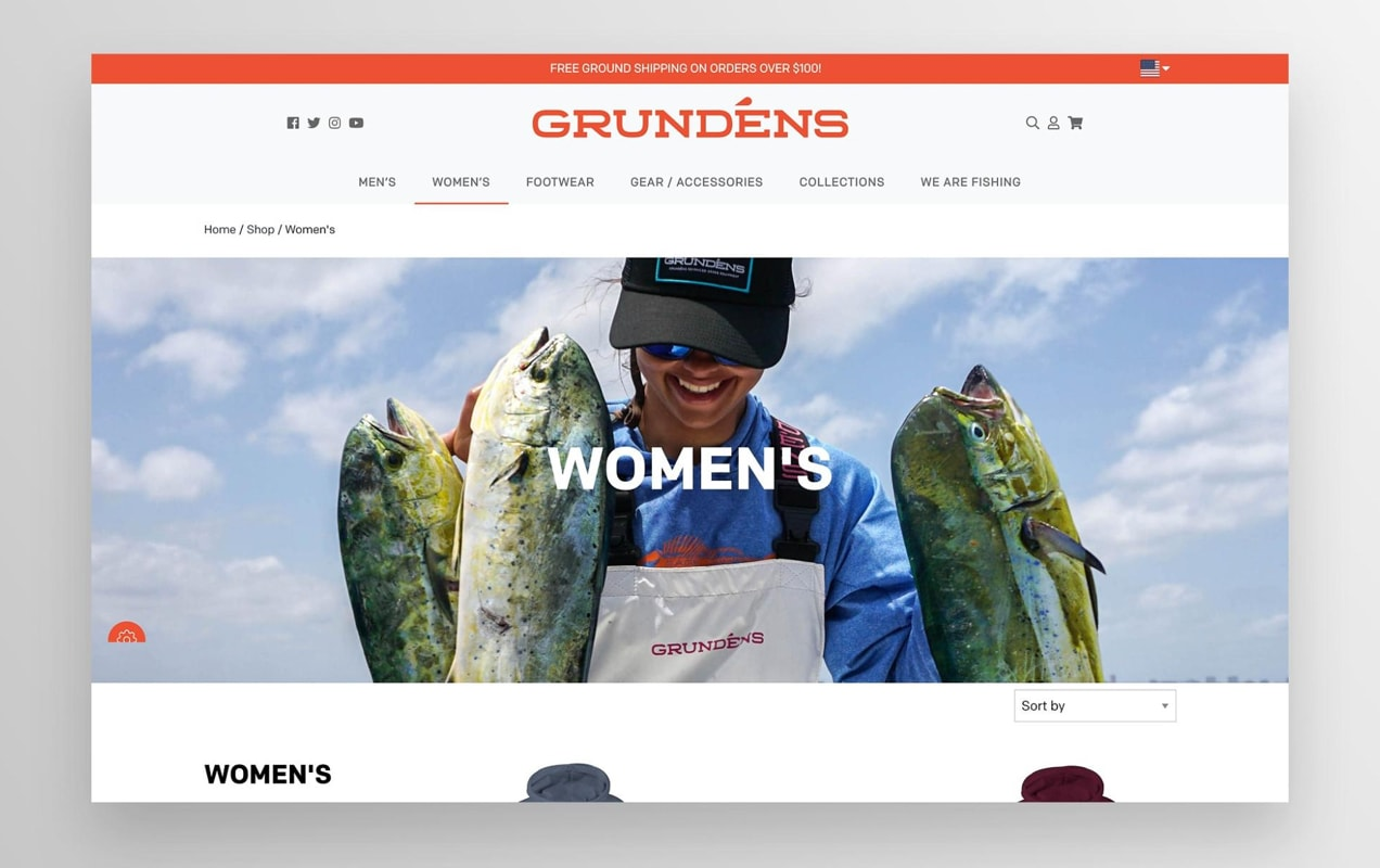 Grunden's category page on their website